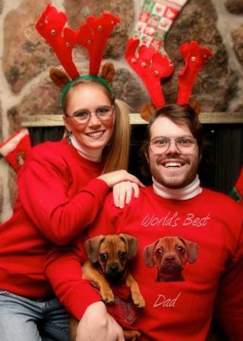 Funny Christmas Cards Dog Family Photo